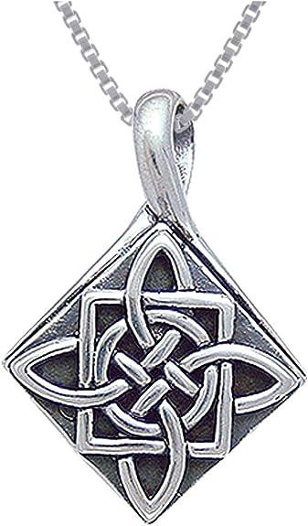 "18/"" Italian Box Chain Sterling Silver Quaternary Celtic Knot Pendant Charm"