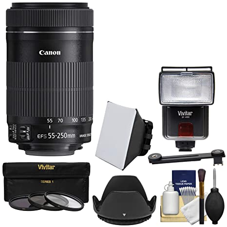 Canon EF-S 55 - 250 mm f/4.0 - 5.6 IS STM Zoom Lente con trípode +