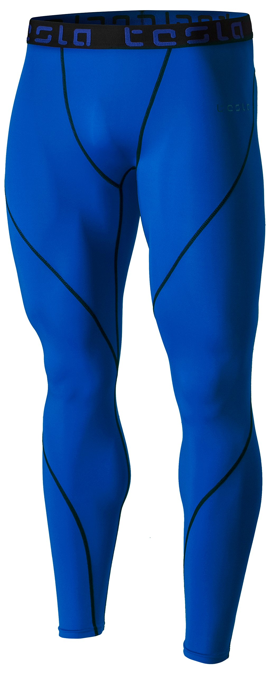 TSLA Men's Compression Pants Running Baselayer Cool Dry Sports Tights, Athletic(mup19) - Blue, 2X-Large by TSLA