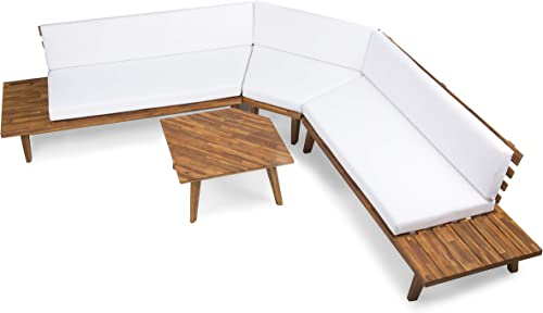 Christopher Knight Home Highpoint Outdoor V-Shaped Acacia Wood Sectional Sofa Set with Water Resistant Cushions, 4-Pcs Set, Sandblast Finish White