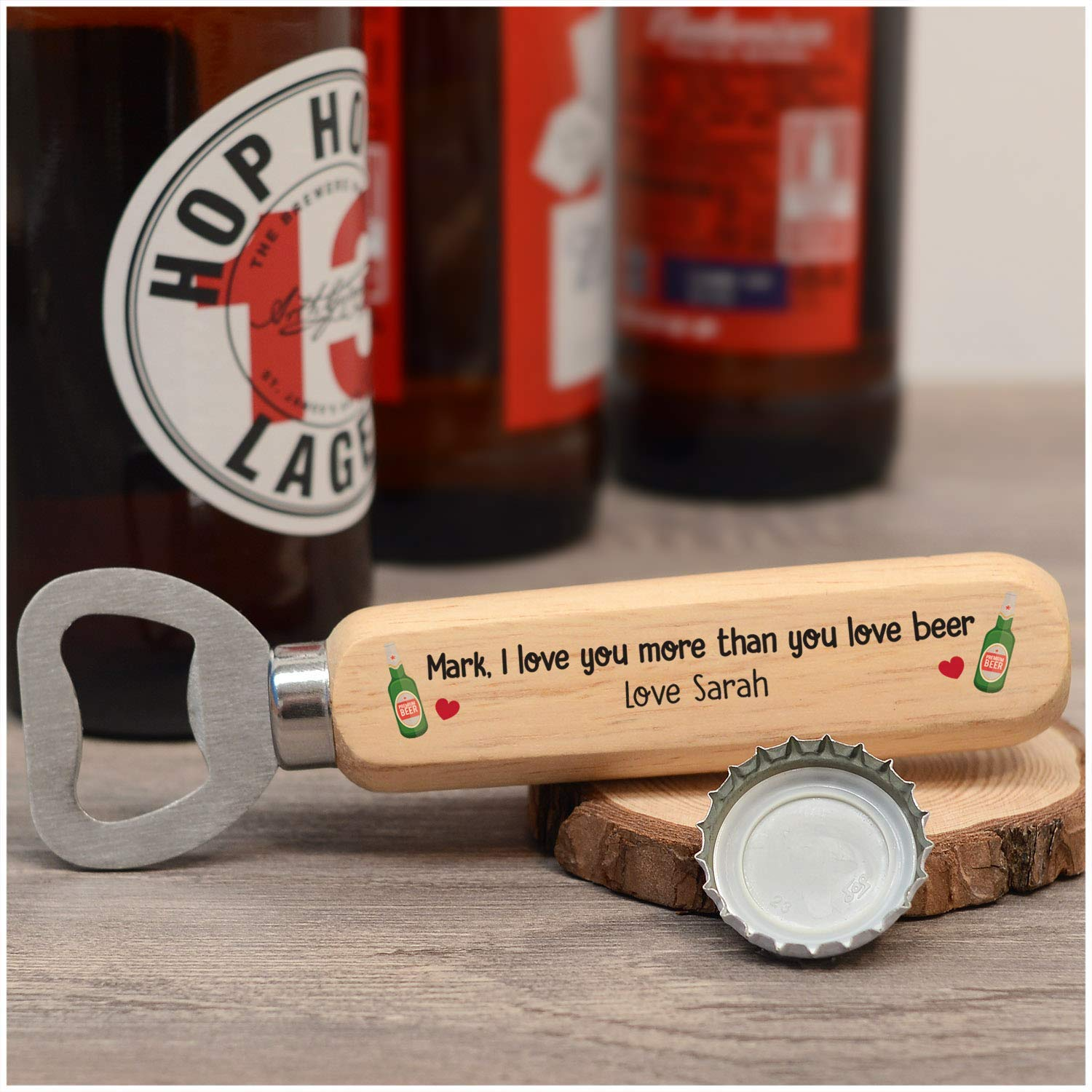 1st 5th Wood Anniversary Gifts PERSONALISED Christmas Birthday Anniversary Gifts for Him Men I Love You Beer Bottle Opener Gifts for Husband Boyfriend Gifts from Wife Girlfriend