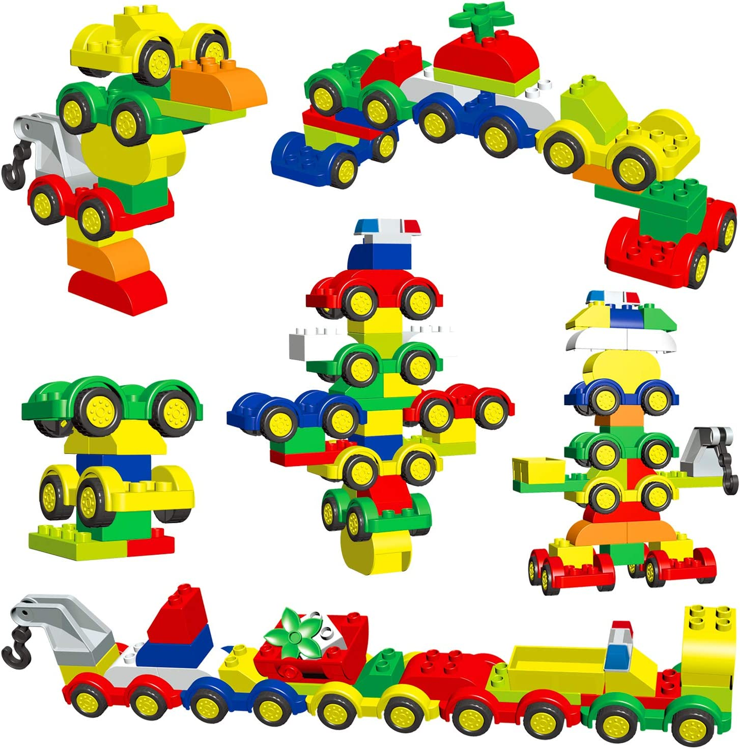 STEM Gift Toys Bricks for Toddlers 1-3 Boys Girls 48 Pieces Building Bricks Building Toy Cars Set with 8 Mini Vehicles Early Educational Set with Storage Box Large Building Blocks for Toddlers