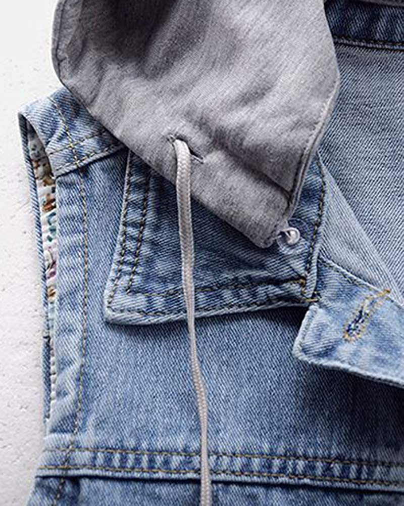 Shaoyao Damen BF Weste Jacke /Ärmellos Einfache Beil/äufige Jeansweste Mit Kapuze