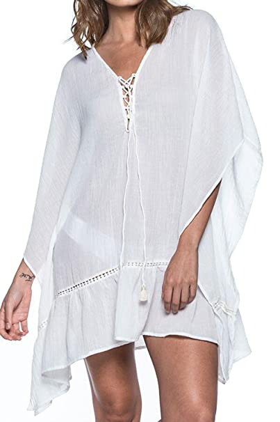 54376b18a Image Unavailable. Image not available for. Color: KingsCat Drawstring Beach  Kaftan Style Swimsuit Cover up, White