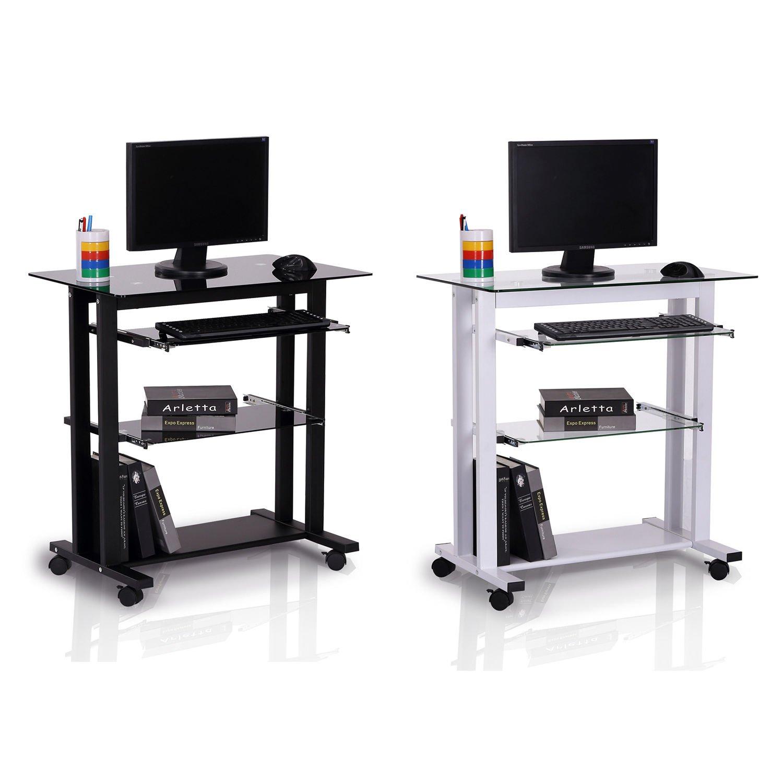 Generic NV_1008004611-QYUS484611 Top PC r Workst Desk Glass Computer Wo Computer Workstation Laptop op Desk Stand Wheels Wheels Desk Table e Stand Wheels by Generic (Image #1)