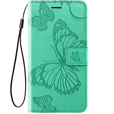 IKASEFU Compatible with MOTO E6 Play Case Emboss butterfly Pu Leather Wallet Strap Card Slots Shockproof Magnetic Stand Support Folio Flip Book Cover Protective Case,green: Musical Instruments