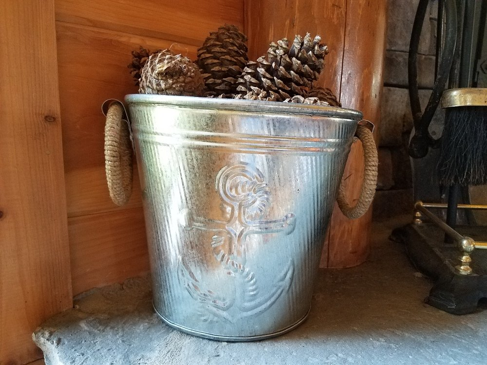 Galvanized Metal Ice Bucket for Drinks or Planter Pail with Rope Handles by KINDWER (Image #9)