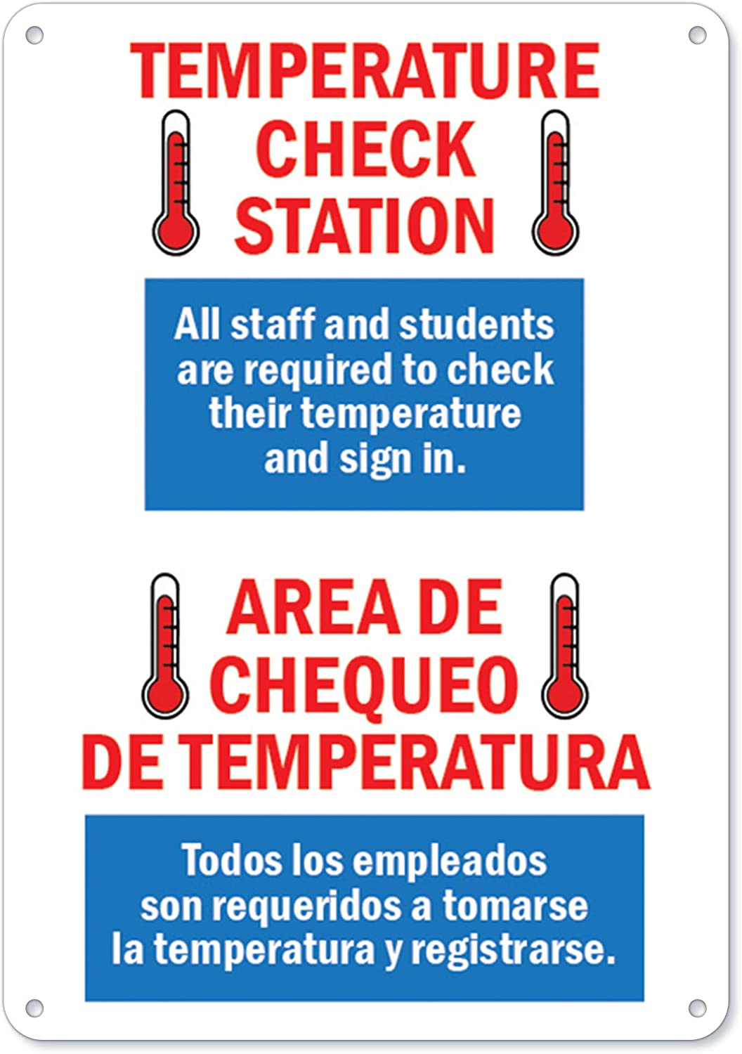 COVID-19 Notice Sign - Temperature Check Station Spanish   Plastic Sign   Protect Your Business, Municipality, Home & Colleagues   Made in The USA