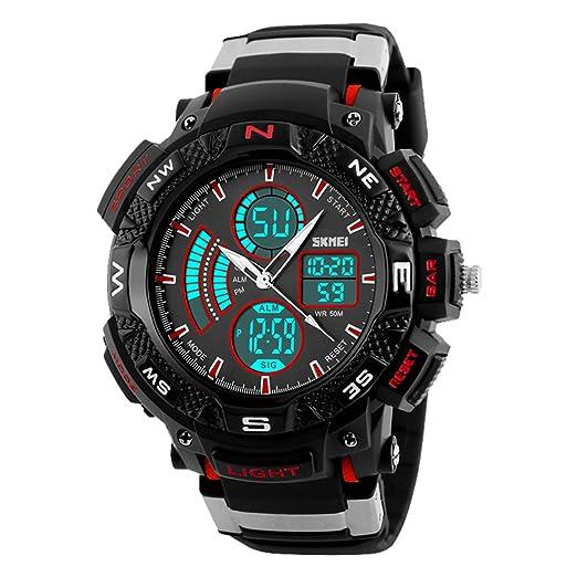 fomtty Relojes Niños para hombre joven reloj deportivo resistente al agua Digital Reloj analógico cronógrafo reloj