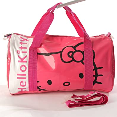 7691fbdba372 Hello Kitty Patent Leather Duffle Gym Travel Bag Tote Shoulder Rose   Amazon.co.uk  Shoes   Bags