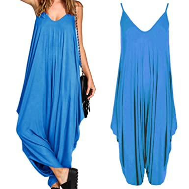 966b780498 Ladies Baggy Harem Jumpsuit Romper Sleeveless All In One V-Neck Cami  Playsuit  Amazon.co.uk  Clothing
