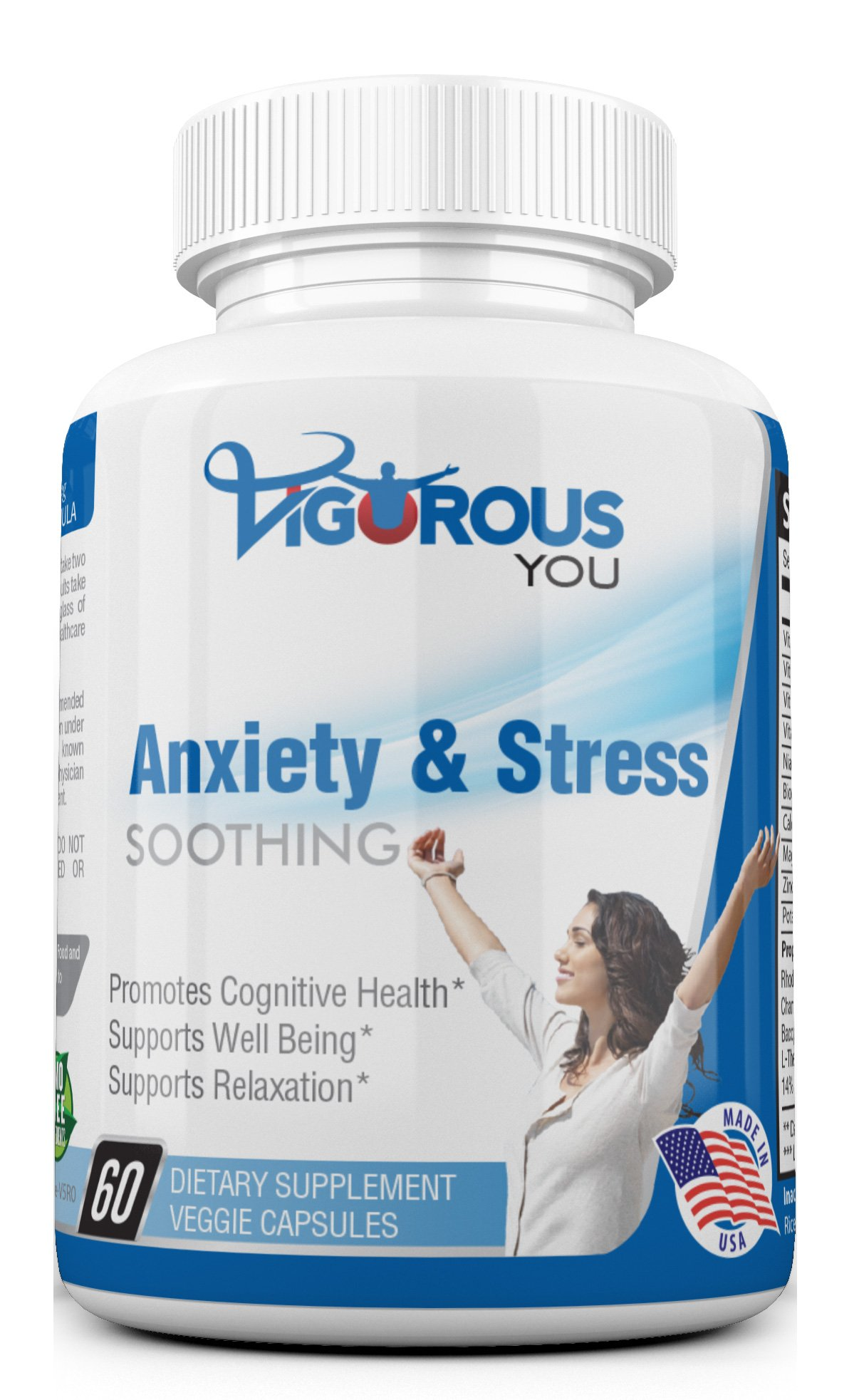 Soothing Calm Powerful Anxiety & Stress Supplement - All-Natural Work Anxiety Relief Supplements Herbal Blend Keeps Busy Minds Calm, Happy, Focused & Relaxed w/L-Theanine, Niacin, 5-HTP and More