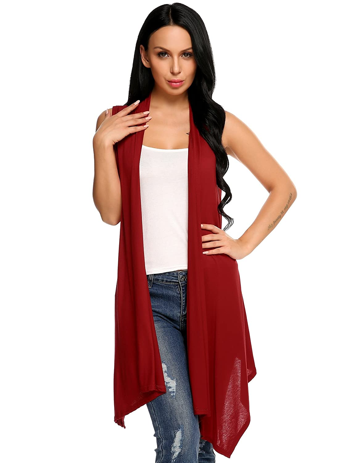 Beyove Women's Asymetric Hem Sleeveless Open Front Drape Cardigan Sweater Vest