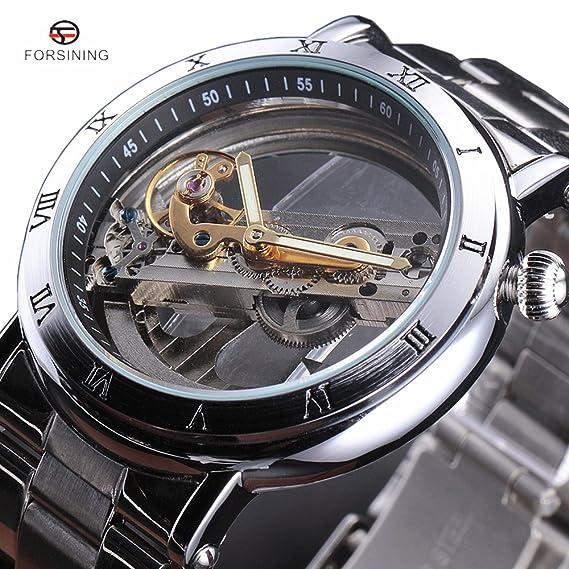 Forsining Hombres de números romanos mecánico automático de acero inoxidable reloj de pulsera