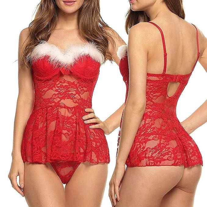 ❤ Vestido de lencería Mujer Navidad, Lencería Sexy de Damas Ropa de Dormir Babydoll G-String Ropa Interior Vestido de Noche Absolute: Amazon.es: Ropa y ...