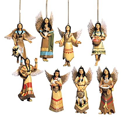 collections etc southwest angel christmas ornaments native american set of 8 - Southwest Christmas Decorations
