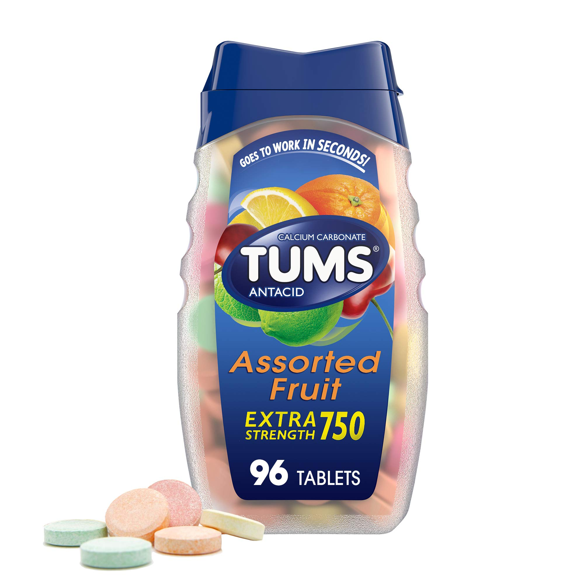 TUMS Antacid Chewable Tablets, Extra Strength for Heartburn Relief, Assorted Fruit, 96 count