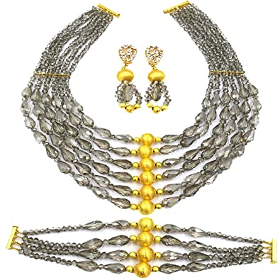 Latest African Beads Costume Jewelry Set Nigerian Wedding Necklace Bridal Party Jewelry Sets (Grey)  sc 1 st  Amazon.com : costume jewelry set  - Germanpascual.Com
