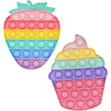 Push Pop Fidget Toy Pack , Pop Toy, Silicone Bubble Squishy Toys for Kids and Adults - 2Pcs Pack (Multi-Color Strawberry + Ic