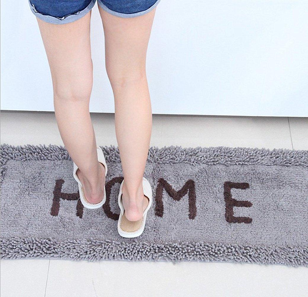 Ukeler Set of 2 Creative Non-Slip Kitchen Mat Long Anti-Fatigue Washable Floor Rugs for Kitchen/Bathroom/Laundry Room, 19.6''x31.5''+17.7''x47.2'', Grey