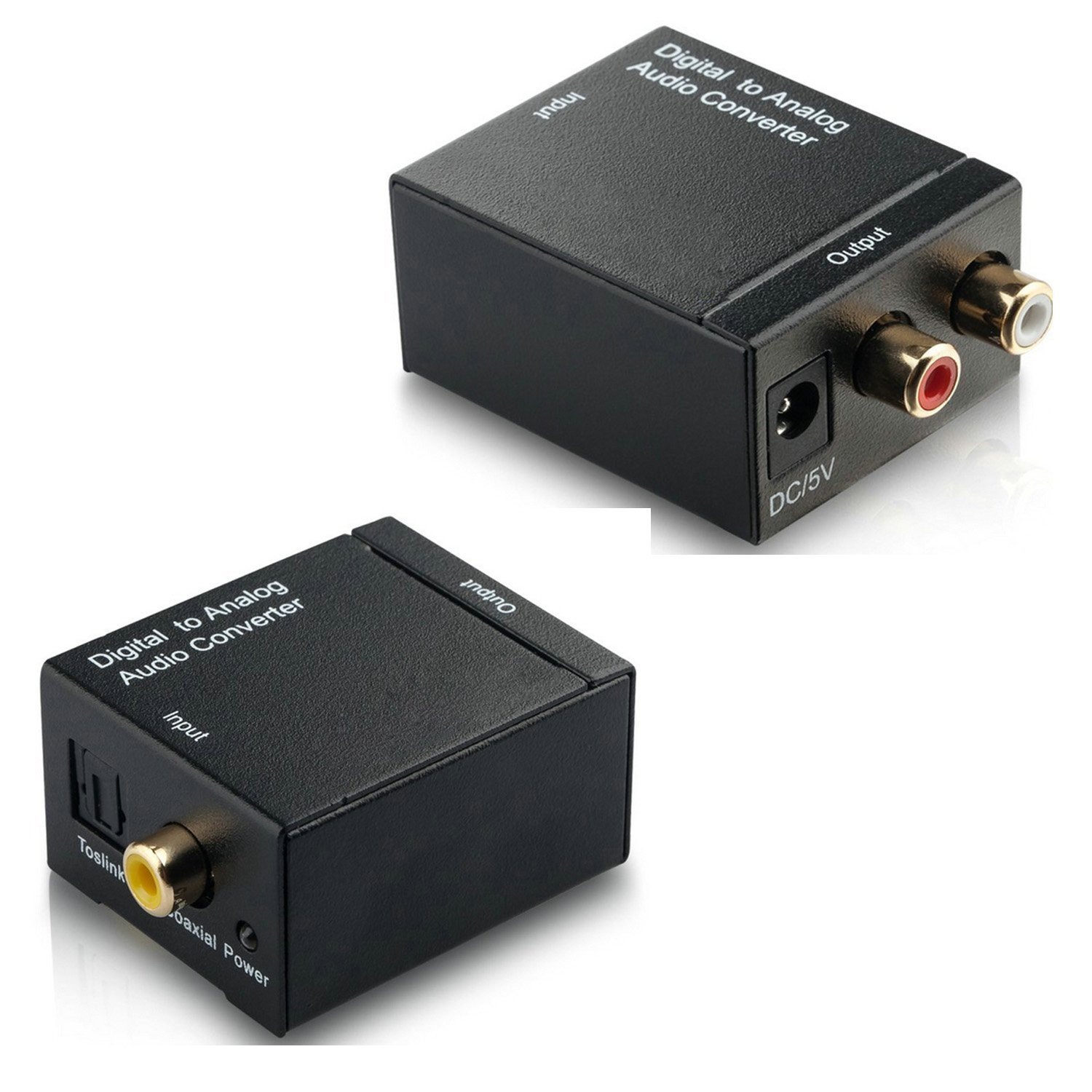 Amazon.com: Digital Optical Coaxial Toslink Signal to Analog Audio Converter RCA L/R output with Optical Toslink Cable RCA Stereo Female to Two RCA Male ...