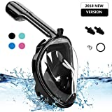 YUDER Full Face Snorkel Mask with 180° Full Face Scuba Mask Snorkeling Mask Breathing & Anti-Fog Anti-Leak Panoramic View Snorkel Set for Adults or Kids,Detachable Camera Mount Pivot Arm and Earplug