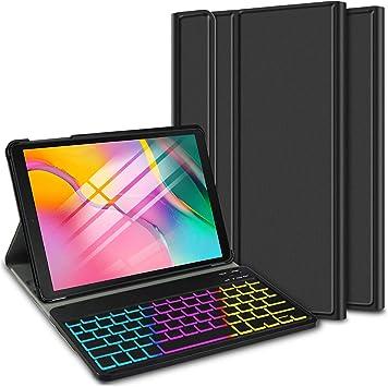ELTD Funda con Teclado Español Ñ para Samsung Galaxy Tab A 10.1 Pulgadas 2019 T510/515, Teclado inalámbrico 7 Colores Cubierta de Teclado ...