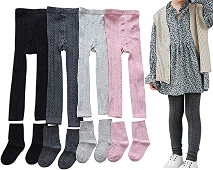 4 Pack Kids Girls Cable Knit Cotton Footless Ankle Leggings Pants