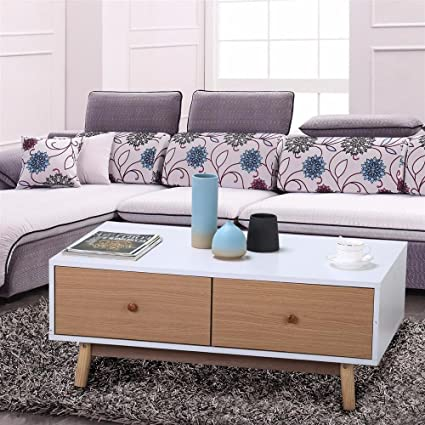 Amazon.com: Yaheetech Modern 2 White Drawers Coffee Table Solid Wood ...