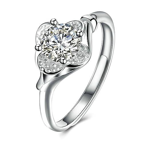 Blisfille Anillos Compromiso Pareja Plata Anillo Oro Y Diamantes Anillo Corazón Plata de Ley,Plata