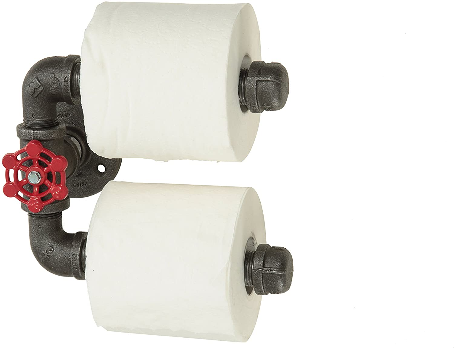 Double West Ninth Vintage Industrial Iron Pipe Toilet Paper Roll Holder