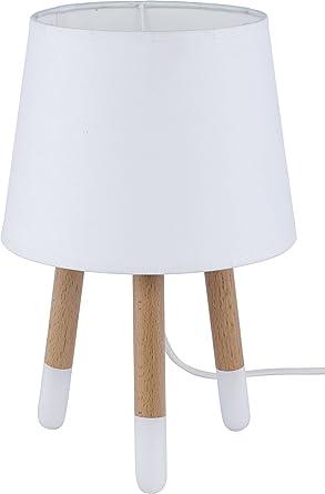 Lámpara de mesa Madera Blanco Trípode Noche Lámpara de mesa ...