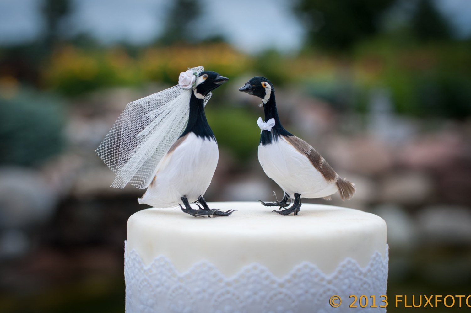 Canada Goose Cake Topper: ''Bride and Groom'' Love Birds Wedding Topper in Black, White and Brown