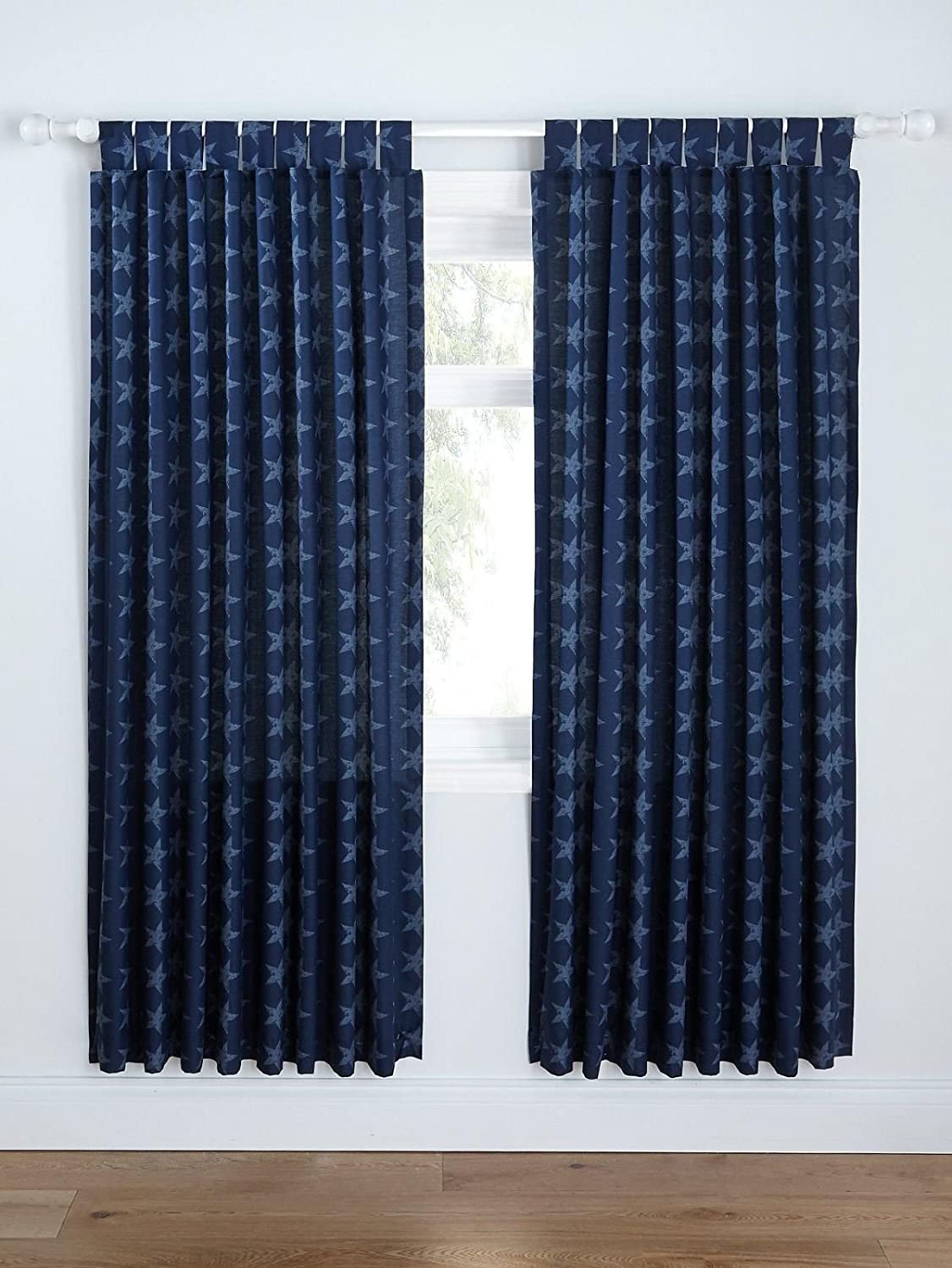 Catherine Lansfield Stars and Stripes Easy Care Tab Top Curtains Multi, 66x72 Inch BDB3 1839 WTT6672