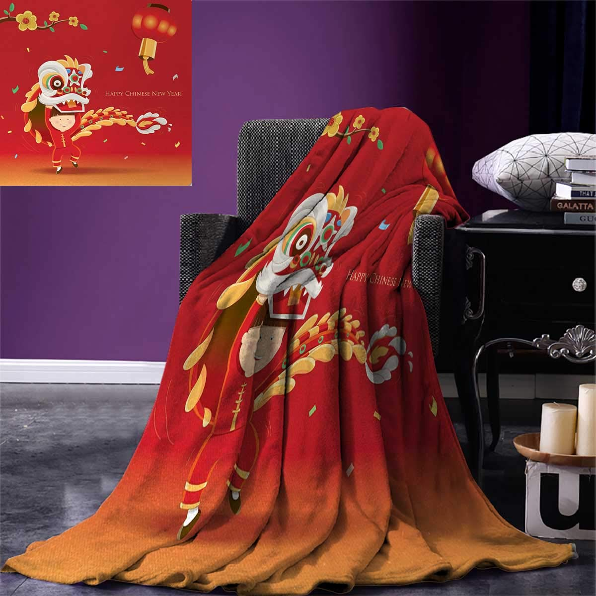 Chinese New Year Throw Blanket Little Boy Performing Lion Dance with The Costume Flowering Branch Lantern Velvet Plush Throw Blanket 60''x50'' Multicolor