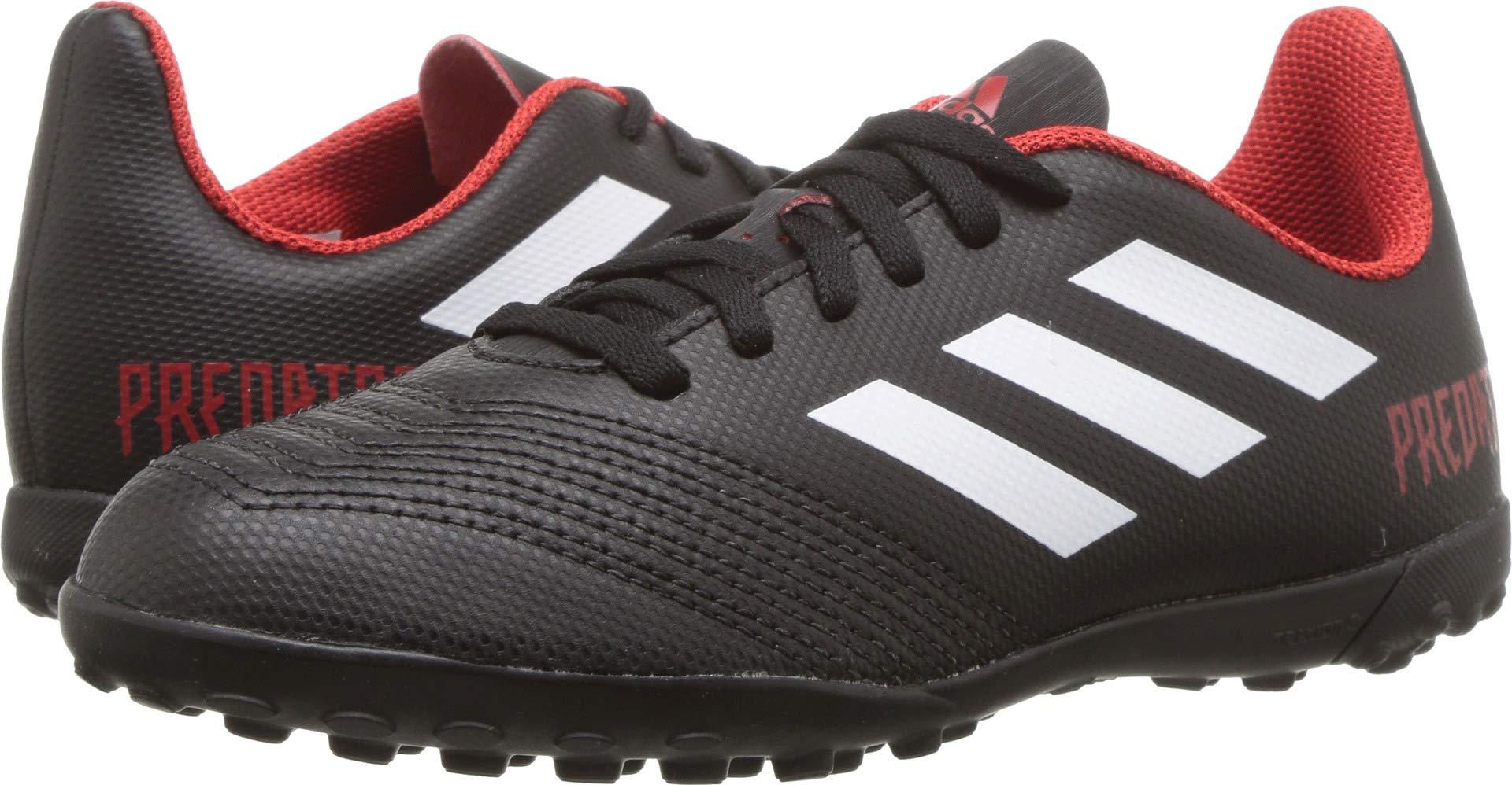 adidas Unisex-Kids Predator Tango 18.4 Turf Soccer Shoe, Black/White/Red, 4 M US Big Kid