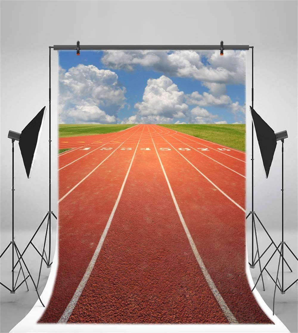 10x7ft Red Running Track Backdrop Striped Line Grass Playground Blue Sky Vinyl Photography Background Athlete Relay Sport Race Champion Adult Banner Photo Prop Studio Video Back Drops