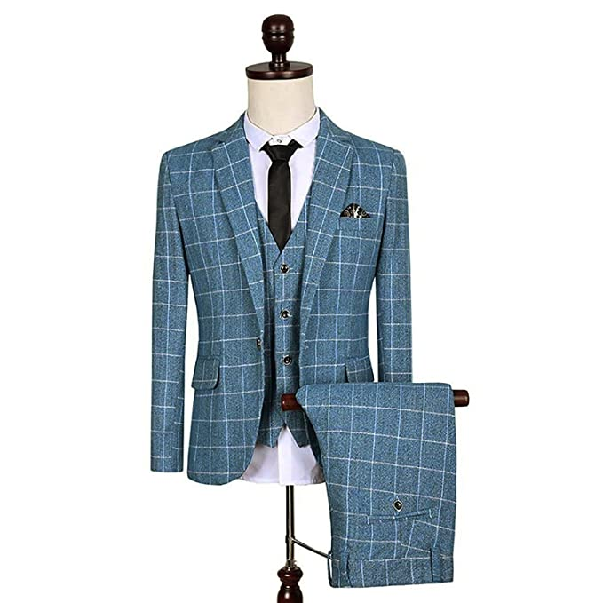 1960s Style Men's Clothing, 70s Men's Fashion Mens Plaid Suit Blazer Jacket Vest & Trousers $82.99 AT vintagedancer.com