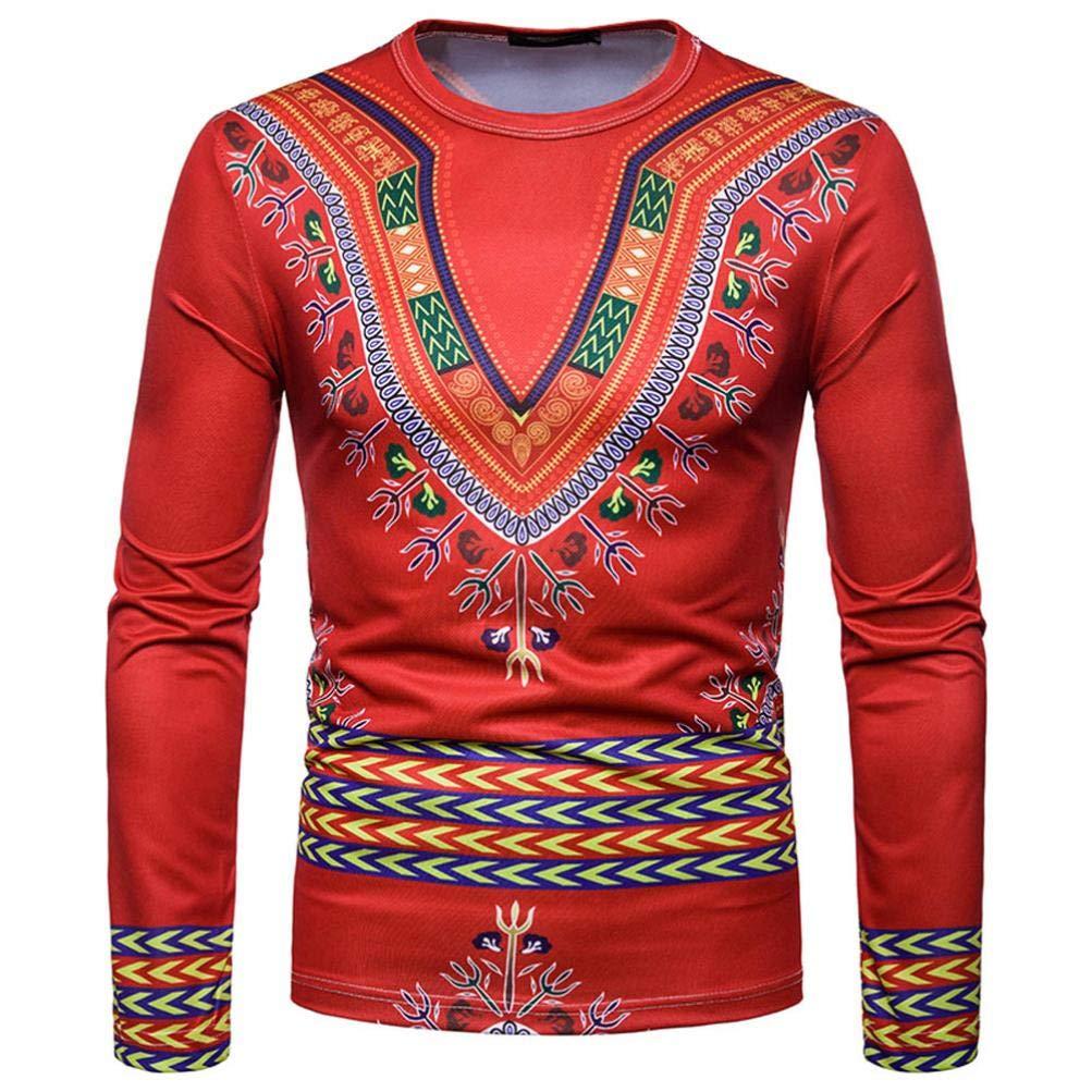Manadlian Herren Herbst Winter Afrikanisch 3D-Druck Lange Ä rmel Dashiki O-Ausschnitt Sweatshirt Kapuzenoberteil Hemd Oberteile