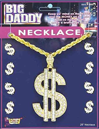 Mens Ladies Silver Dollar Sign Necklace Fancy Dress Costume Outfit Accessory