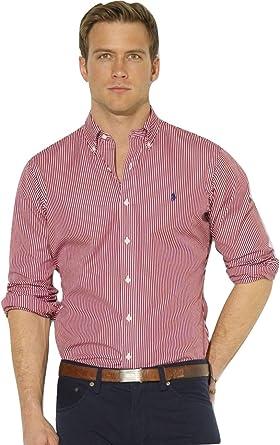 Ralph Lauren camisa para hombre Custom Fit de rayas de Bengala rojo rojo Rojo Stripe Small: Amazon.es: Ropa y accesorios