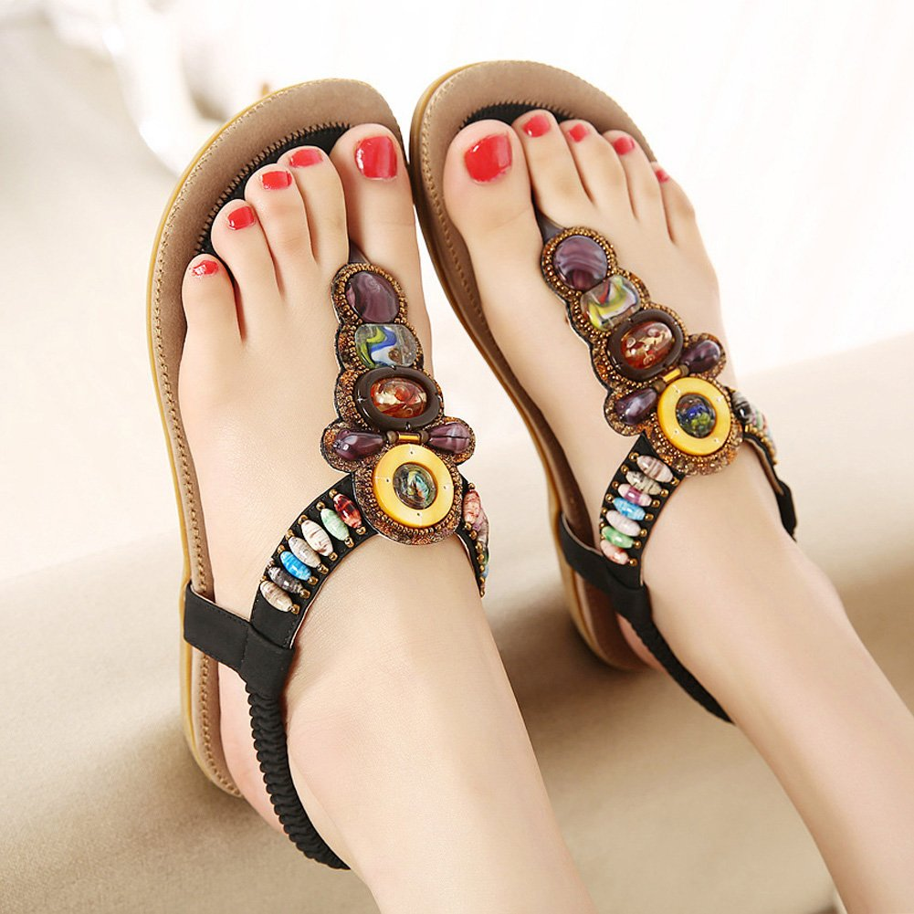 12616fc7db3774 Zicac Women s Clip Toe Sandals Summer Bohemia Rhinestone Bead Folk Dunlop  Sandals Boho Beach Flip Flops Elastic T-Strap Post Thong Flat Sandals Shoes   ...