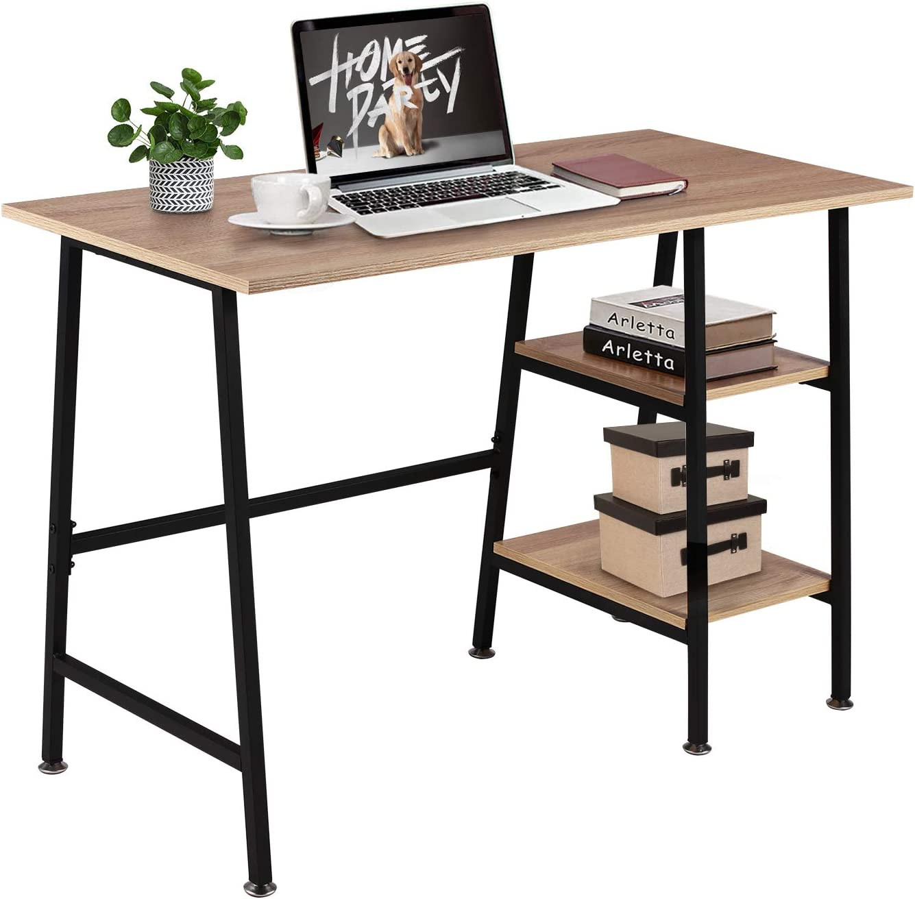 VECELO Computer Storage Workstation Study Desk Writing Table with 2 Tier Shelves for Office and Home, Oak