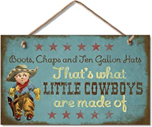 Highland Graphics New Sweet Little Cowboys Sign Wood Plaque Western Art Decor Boots Hats Picture,blue