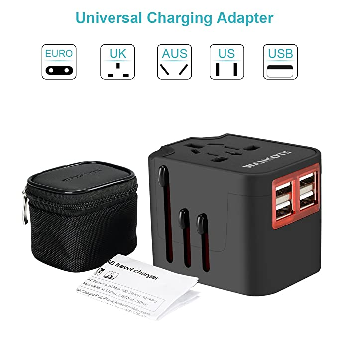 Review WANKOTE Travel Adapter, International Universal All in One Converter Plug with 4 USB Ports for USA EU UK AUS European Cell Phone Laptop