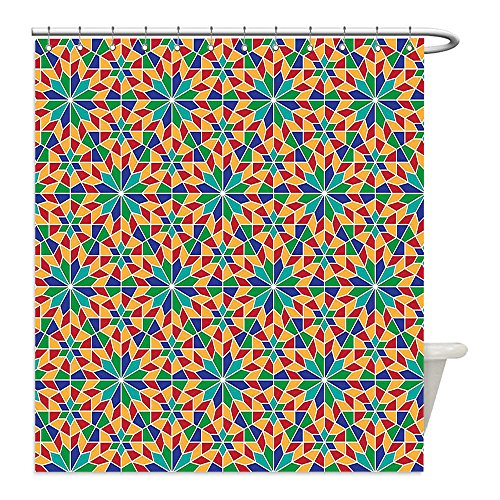 Liguo88 Custom Waterproof Bathroom Shower Curtain Polyester Arabian Decor Collection Islamic Mosaic Floral Patterns with Geometrical Shapes Old Ethnic Oriental Motifs Art Work Multi Decorative bathro by liguo88