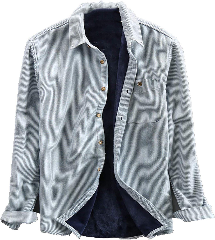 N\P Camisa de felpa para hombre con rayas cálidas: Amazon.es ...