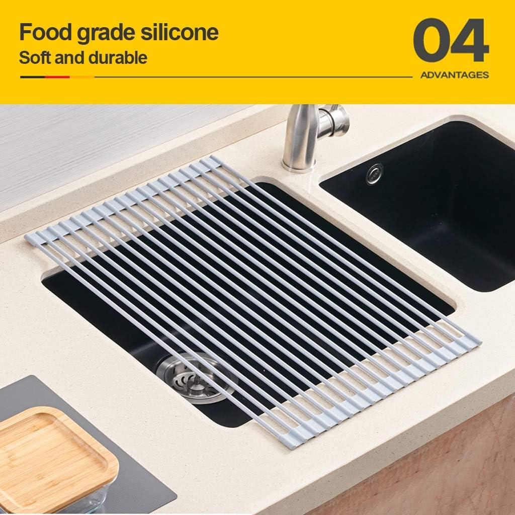 Escurreplatos- Silicona de Calidad Alimentaria y Soporte de Drenaje Plegable y Filtro de Agua de Bandeja Multiusos,D: Amazon.es: Hogar