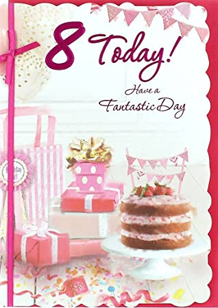 Cool Age 8 Girl Birthday Card Pink Strawberry Cake Presents Funny Birthday Cards Online Sheoxdamsfinfo