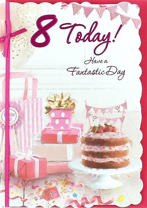 Dorado Edad 8 Cumpleaños Tarjeta de felicitación de ...
